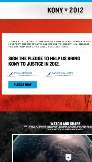 Screenshot of Kony site with simple actions