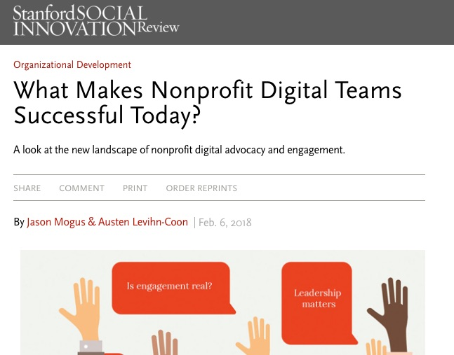 What makes nonprofit digital teams successful today? SSIR article